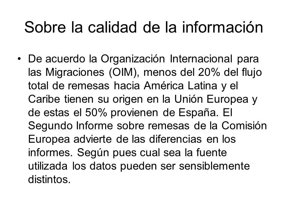 Sobre la calidad de la información De acuerdo la Organización Internacional para las Migraciones (OIM), menos del 20% del flujo total de remesas hacia