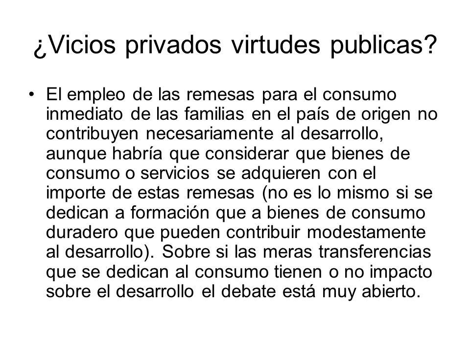 ¿Vicios privados virtudes publicas? El empleo de las remesas para el consumo inmediato de las familias en el país de origen no contribuyen necesariame