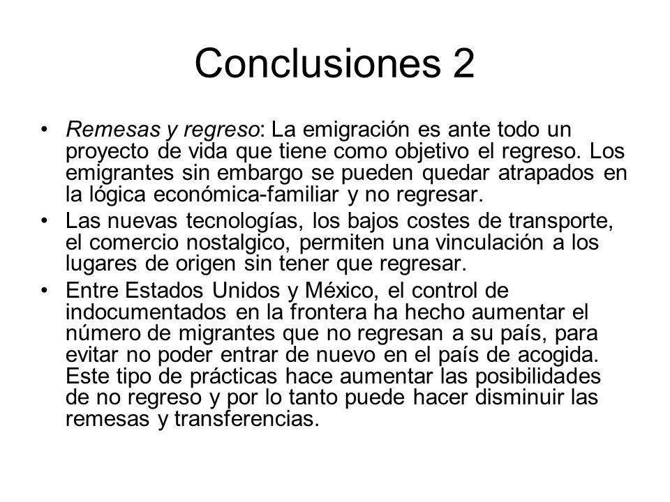 Conclusiones 2 Remesas y regreso: La emigración es ante todo un proyecto de vida que tiene como objetivo el regreso. Los emigrantes sin embargo se pue