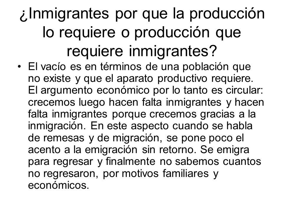 ¿Inmigrantes por que la producción lo requiere o producción que requiere inmigrantes? El vacío es en términos de una población que no existe y que el