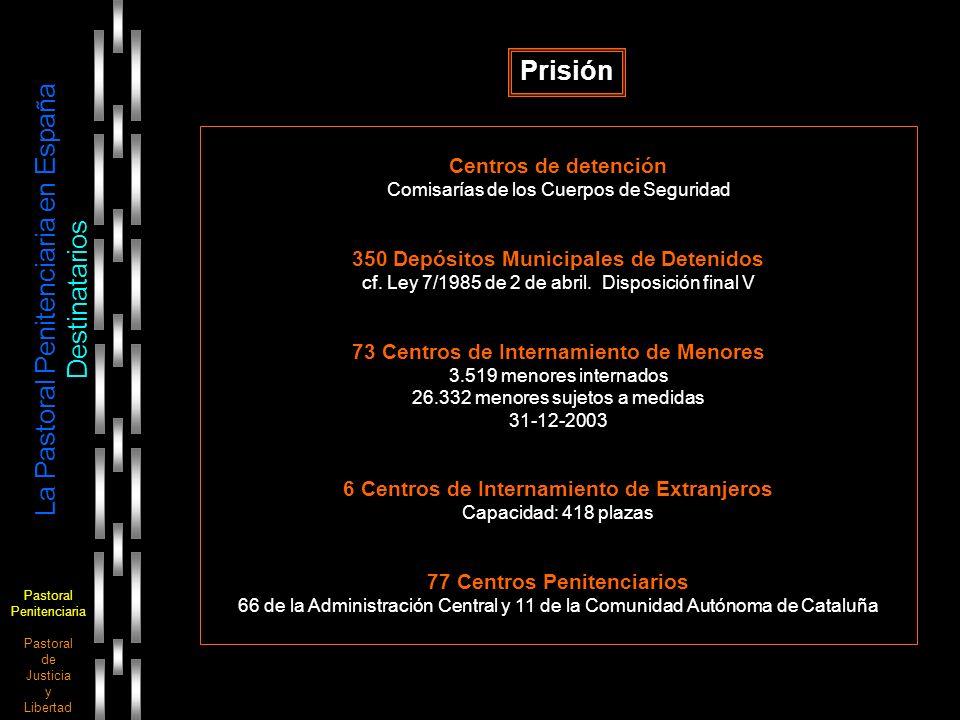 Pastoral Penitenciaria Pastoral de Justicia y Libertad La Pastoral Penitenciaria en España Destinatarios Prisión Centros de detención Comisarías de lo