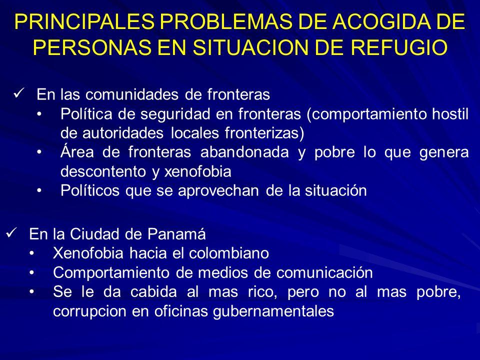 PRINCIPALES PROBLEMAS DE ACOGIDA DE PERSONAS EN SITUACION DE REFUGIO En las comunidades de fronteras Política de seguridad en fronteras (comportamient