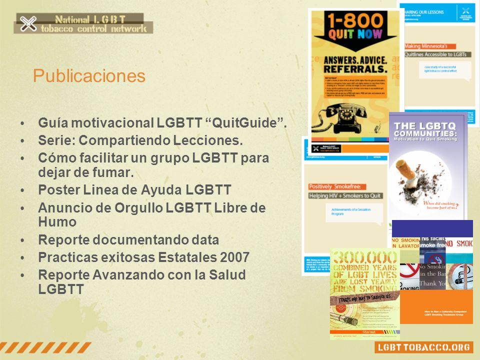 Publicaciones Guía motivacional LGBTT QuitGuide. Serie: Compartiendo Lecciones. Cómo facilitar un grupo LGBTT para dejar de fumar. Poster Linea de Ayu