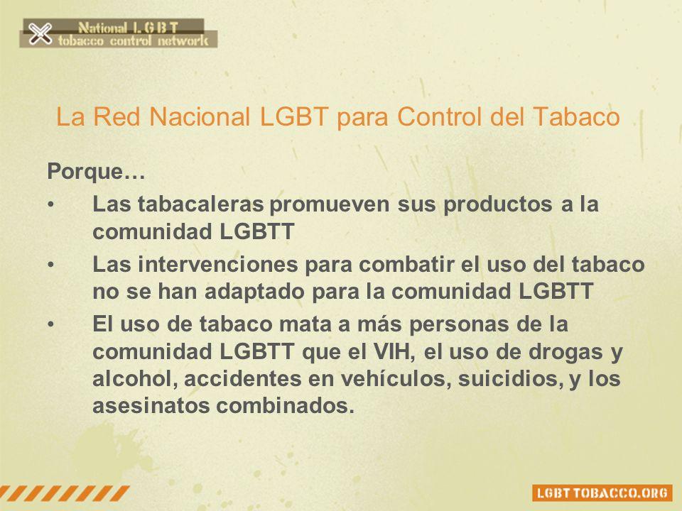 La Red Nacional LGBT para Control del Tabaco Porque… Las tabacaleras promueven sus productos a la comunidad LGBTT Las intervenciones para combatir el