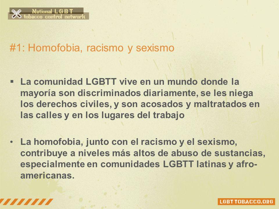#1: Homofobia, racismo y sexismo La comunidad LGBTT vive en un mundo donde la mayoría son discriminados diariamente, se les niega los derechos civiles