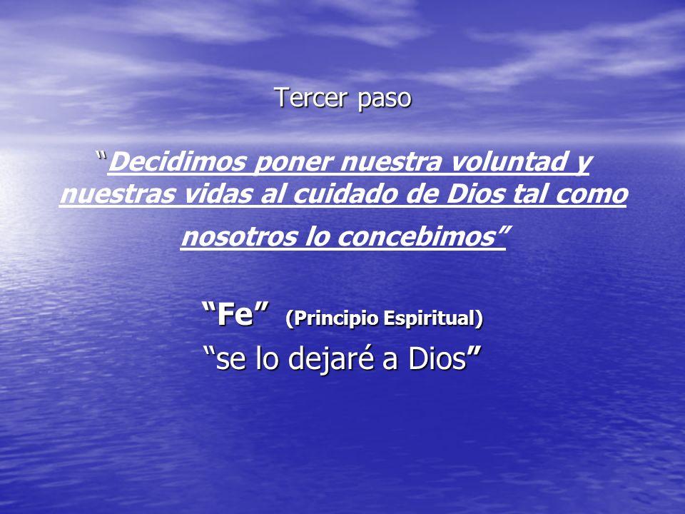 Tercer paso Tercer pasoDecidimos poner nuestra voluntad y nuestras vidas al cuidado de Dios tal como nosotros lo concebimos Fe (Principio Espiritual)