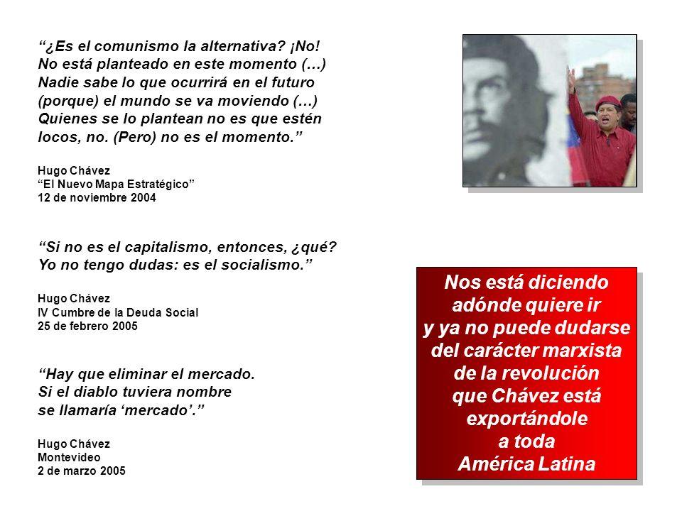 Hay que eliminar el mercado. Si el diablo tuviera nombre se llamaría mercado. Hugo Chávez Montevideo 2 de marzo 2005 Si no es el capitalismo, entonces