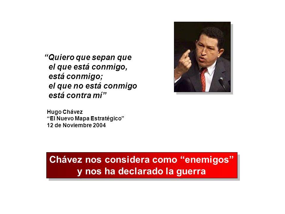 Quiero que sepan que el que está conmigo, está conmigo; el que no está conmigo está contra mí Hugo Chávez El Nuevo Mapa Estratégico 12 de Noviembre 20