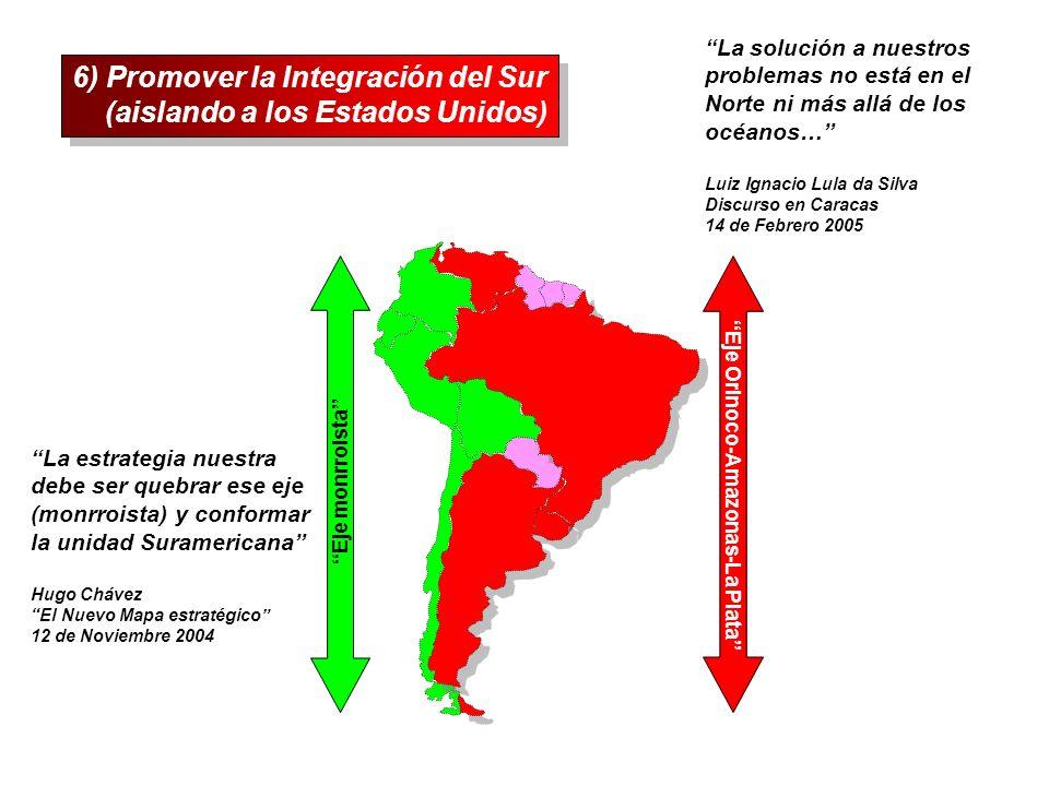 6) Promover la Integración del Sur (aislando a los Estados Unidos) 6) Promover la Integración del Sur (aislando a los Estados Unidos) Eje monrroista E