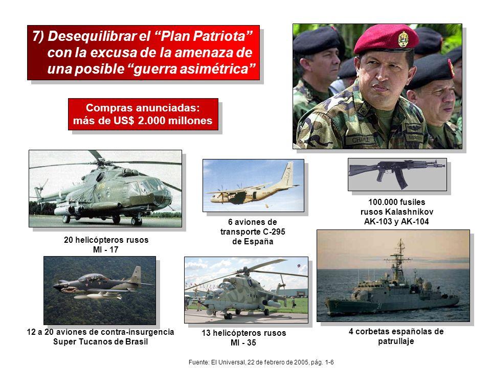 7) Desequilibrar el Plan Patriota con la excusa de la amenaza de una posible guerra asimétrica 7) Desequilibrar el Plan Patriota con la excusa de la a