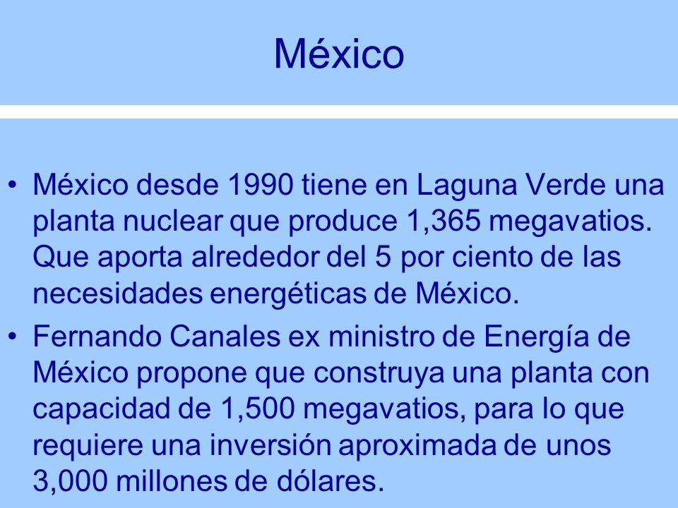 México México desde 1990 tiene en Laguna Verde una planta nuclear que produce 1,365 megavatios. Que aporta alrededor del 5 por ciento de las necesidad