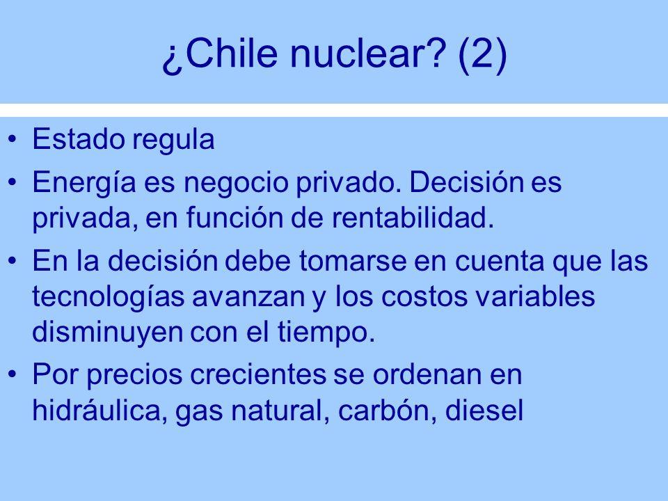 ¿Chile nuclear? (2) Estado regula Energía es negocio privado. Decisión es privada, en función de rentabilidad. En la decisión debe tomarse en cuenta q