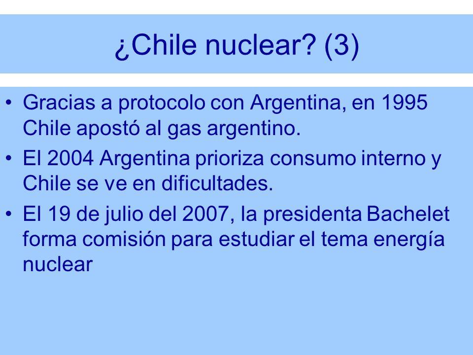 ¿Chile nuclear? (3) Gracias a protocolo con Argentina, en 1995 Chile apostó al gas argentino. El 2004 Argentina prioriza consumo interno y Chile se ve