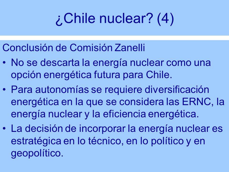 ¿Chile nuclear? (4) Conclusión de Comisión Zanelli No se descarta la energía nuclear como una opción energética futura para Chile. Para autonomías se