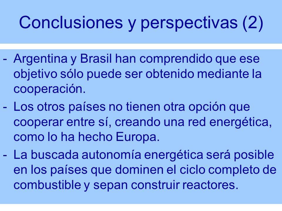 Conclusiones y perspectivas (2) -Argentina y Brasil han comprendido que ese objetivo sólo puede ser obtenido mediante la cooperación. -Los otros paíse