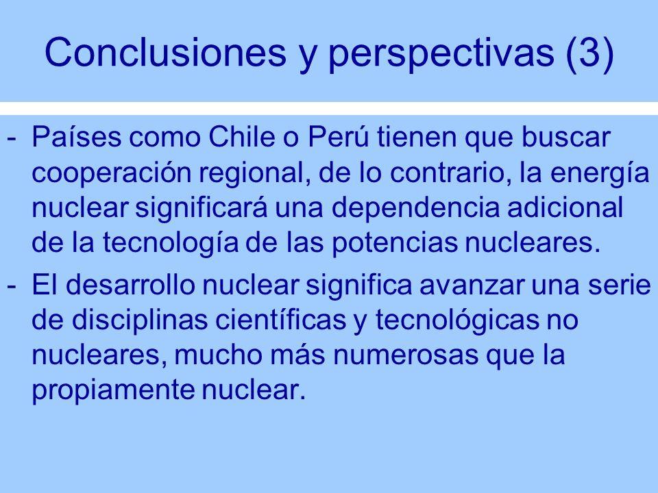 Conclusiones y perspectivas (3) -Países como Chile o Perú tienen que buscar cooperación regional, de lo contrario, la energía nuclear significará una