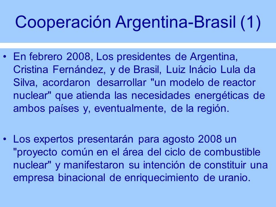 Cooperación Argentina-Brasil (1) En febrero 2008, Los presidentes de Argentina, Cristina Fernández, y de Brasil, Luiz Inácio Lula da Silva, acordaron