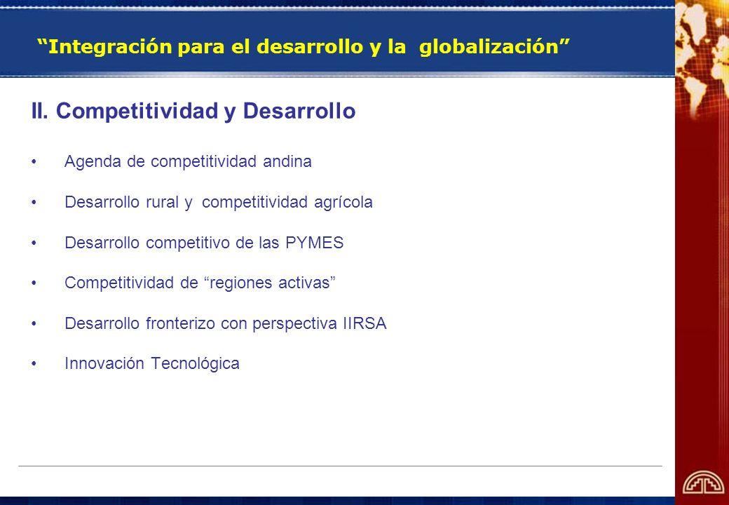 Integración para el desarrollo y la globalización II. Competitividad y Desarrollo Agenda de competitividad andina Desarrollo rural y competitividad ag