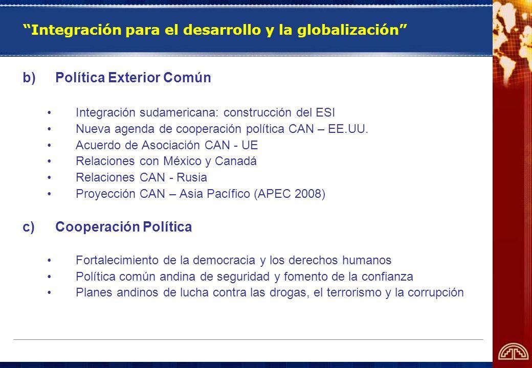 Integración para el desarrollo y la globalización b)Política Exterior Común Integración sudamericana: construcción del ESI Nueva agenda de cooperación
