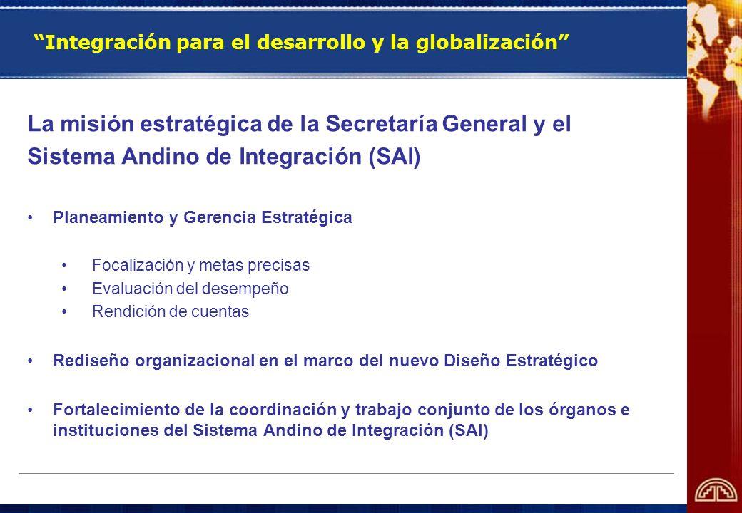 Integración para el desarrollo y la globalización La misión estratégica de la Secretaría General y el Sistema Andino de Integración (SAI) Planeamiento