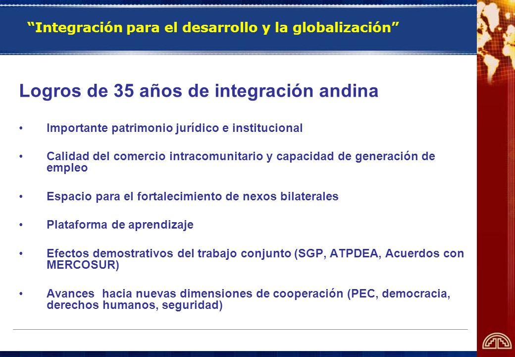 Integración para el desarrollo y la globalización Logros de 35 años de integración andina Importante patrimonio jurídico e institucional Calidad del c