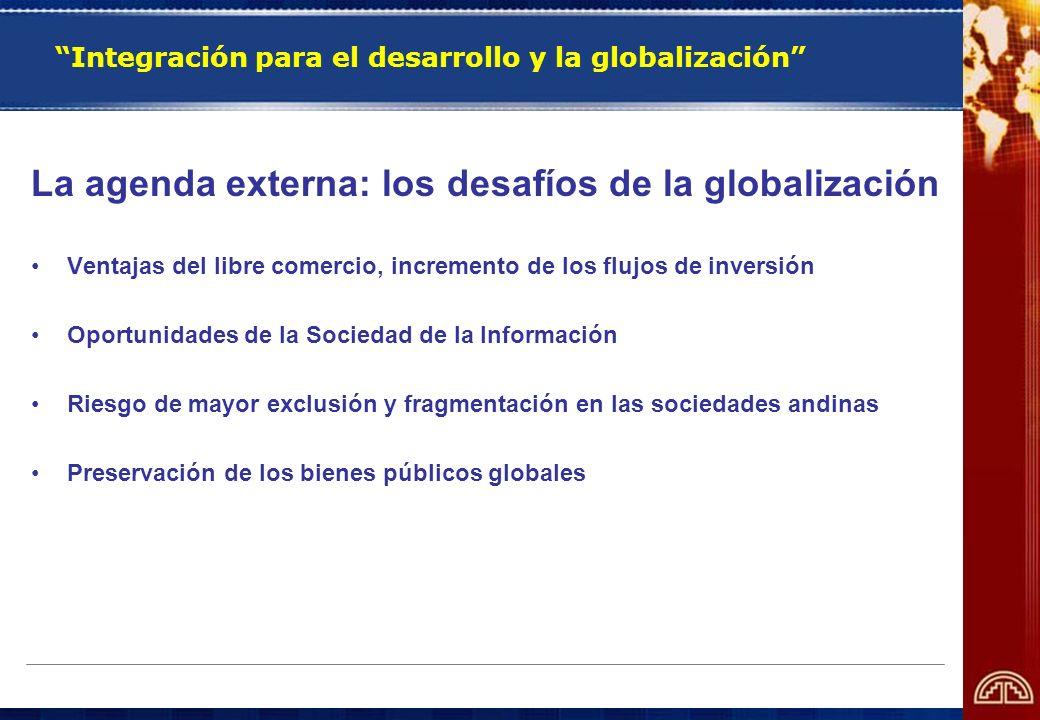 La agenda externa: los desafíos de la globalización Ventajas del libre comercio, incremento de los flujos de inversión Oportunidades de la Sociedad de