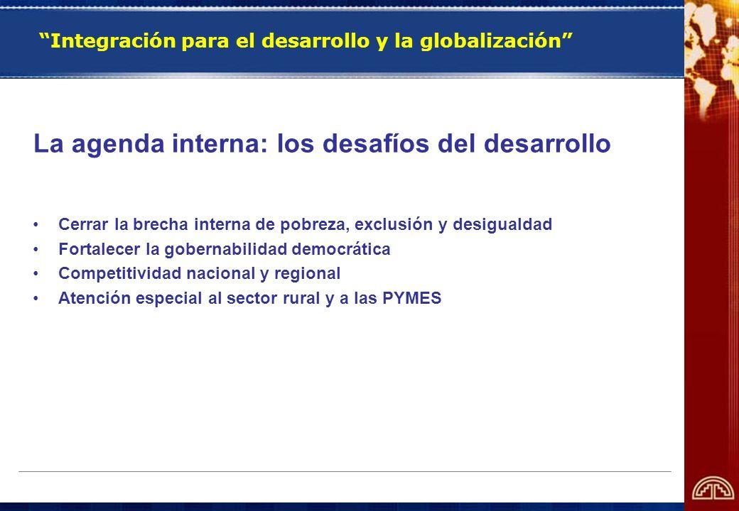 Integración para el desarrollo y la globalización La agenda interna: los desafíos del desarrollo Cerrar la brecha interna de pobreza, exclusión y desi