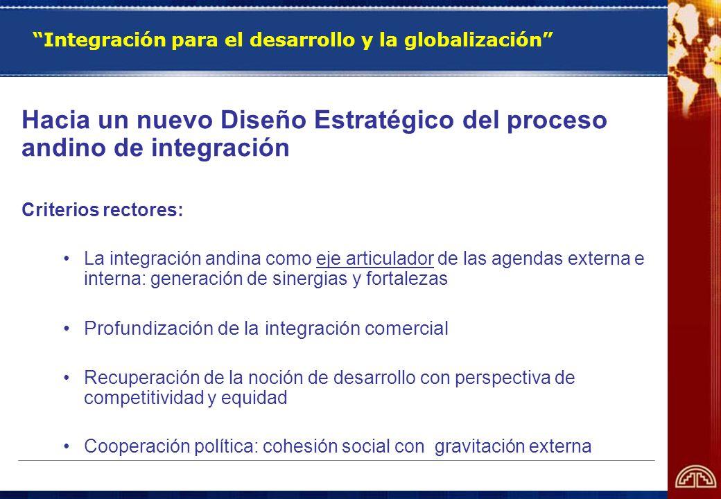 Integración para el desarrollo y la globalización Hacia un nuevo Diseño Estratégico del proceso andino de integración Criterios rectores: La integraci