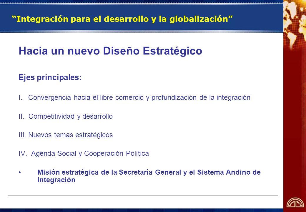 Integración para el desarrollo y la globalización Hacia un nuevo Diseño Estratégico Ejes principales: I. Convergencia hacia el libre comercio y profun