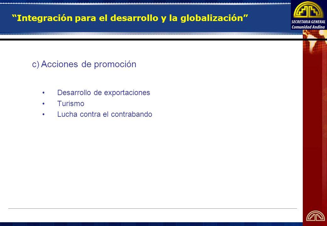 Integración para el desarrollo y la globalización c) Acciones de promoción Desarrollo de exportaciones Turismo Lucha contra el contrabando