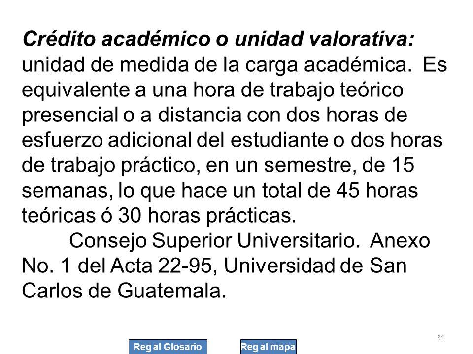 31 Crédito académico o unidad valorativa: unidad de medida de la carga académica. Es equivalente a una hora de trabajo teórico presencial o a distanci