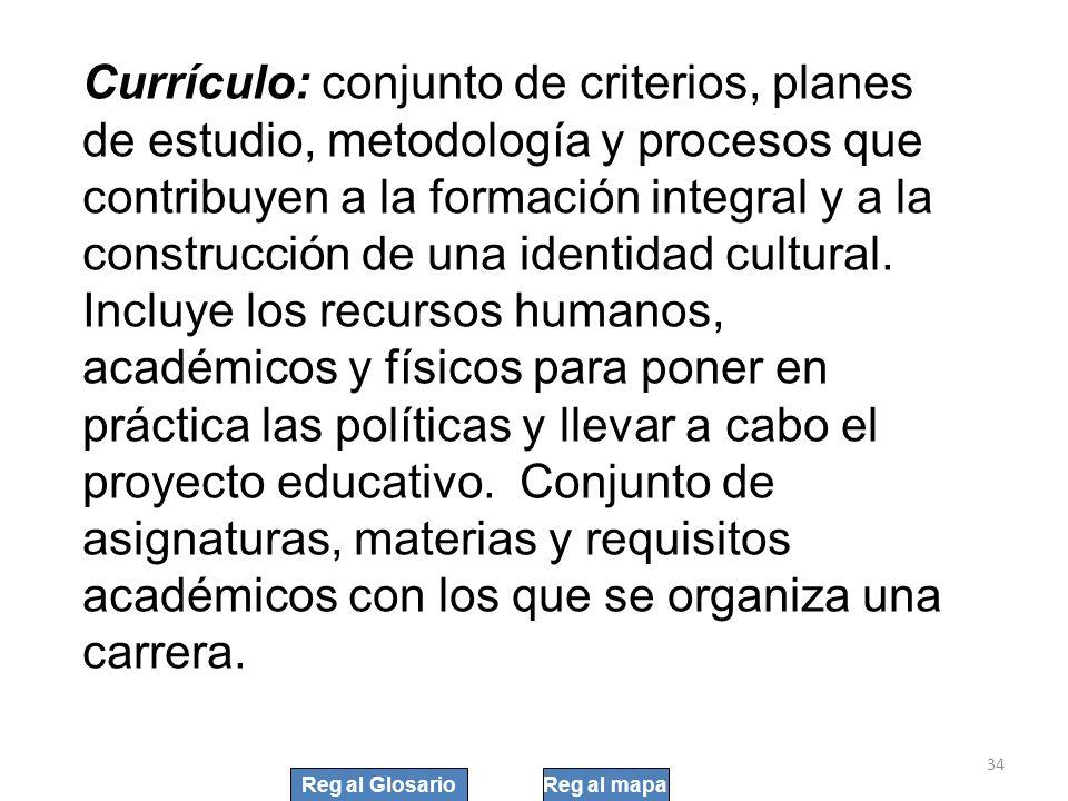 34 Currículo: conjunto de criterios, planes de estudio, metodología y procesos que contribuyen a la formación integral y a la construcción de una iden