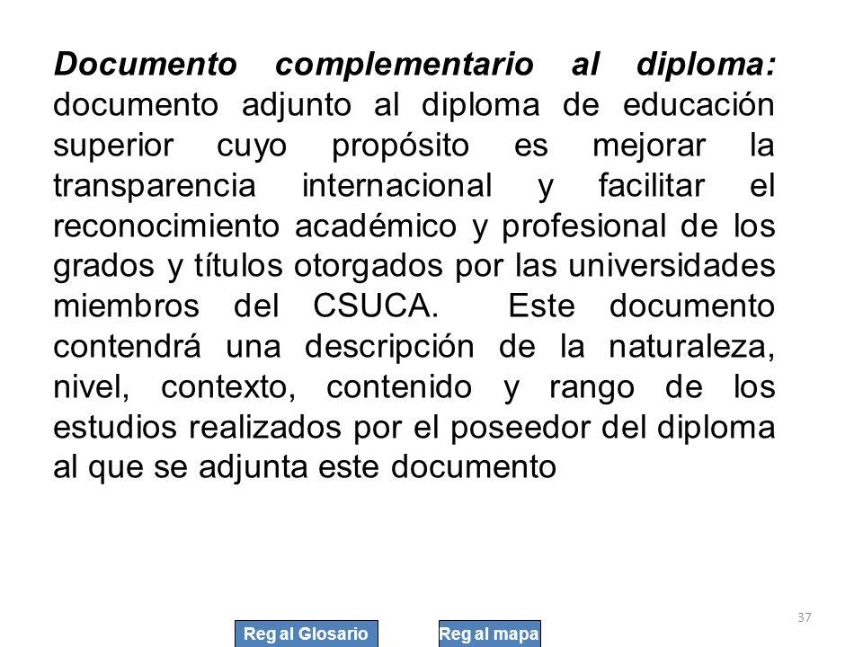Documento complementario al diploma: documento adjunto al diploma de educación superior cuyo propósito es mejorar la transparencia internacional y fac