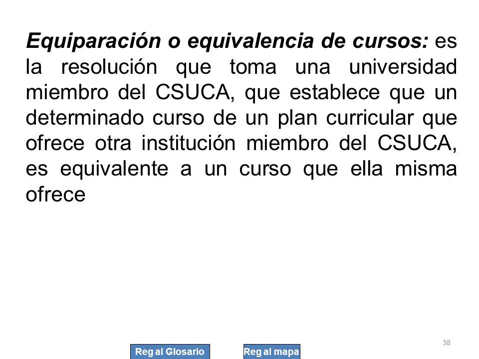 Equiparación o equivalencia de cursos: es la resolución que toma una universidad miembro del CSUCA, que establece que un determinado curso de un plan