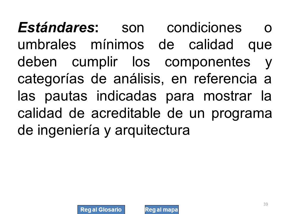 Estándares: son condiciones o umbrales mínimos de calidad que deben cumplir los componentes y categorías de análisis, en referencia a las pautas indic