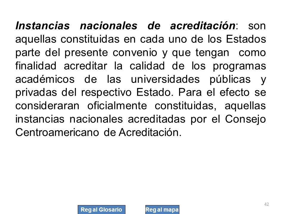 42 Instancias nacionales de acreditación: son aquellas constituidas en cada uno de los Estados parte del presente convenio y que tengan como finalidad