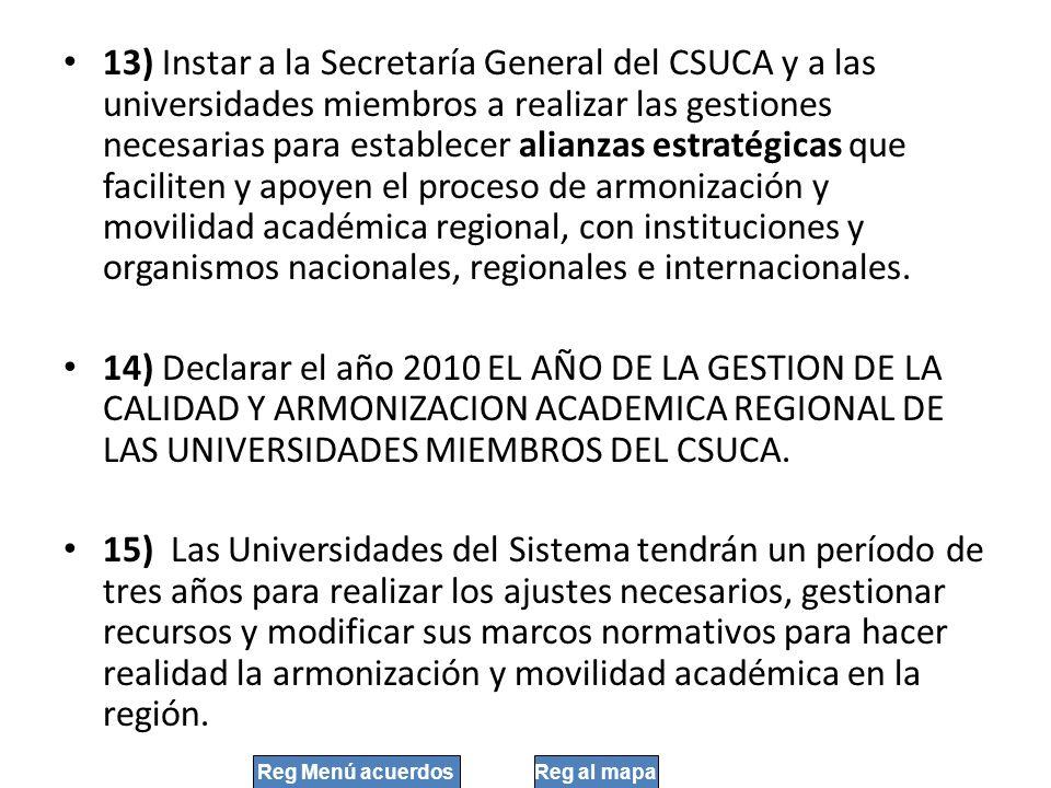 13) Instar a la Secretaría General del CSUCA y a las universidades miembros a realizar las gestiones necesarias para establecer alianzas estratégicas
