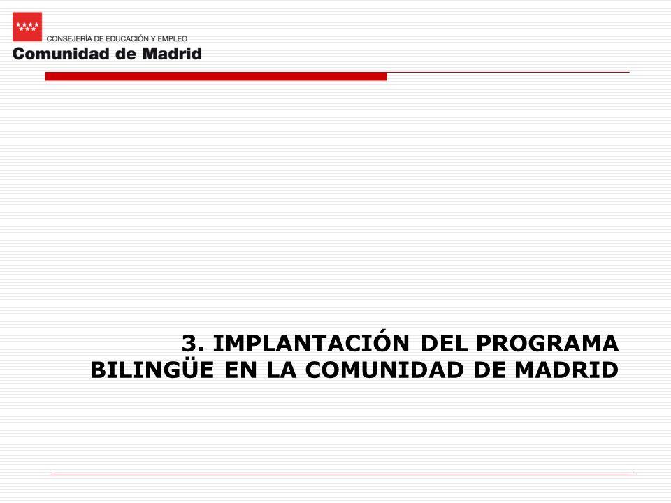 3. IMPLANTACIÓN DEL PROGRAMA BILINGÜE EN LA COMUNIDAD DE MADRID