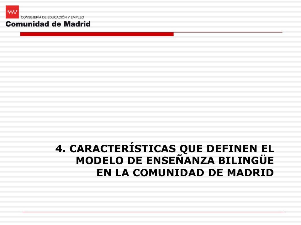 4. CARACTERÍSTICAS QUE DEFINEN EL MODELO DE ENSEÑANZA BILINGÜE EN LA COMUNIDAD DE MADRID