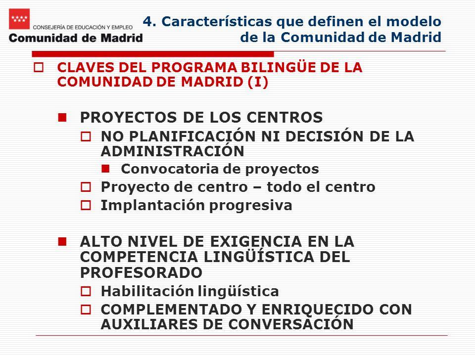 4. Características que definen el modelo de la Comunidad de Madrid CLAVES DEL PROGRAMA BILINGÜE DE LA COMUNIDAD DE MADRID (I) PROYECTOS DE LOS CENTROS