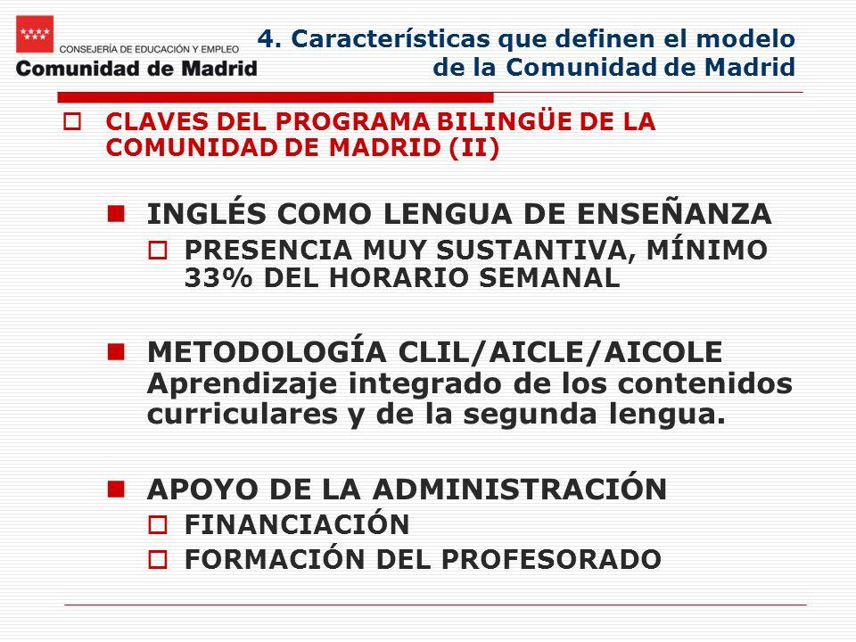 4. Características que definen el modelo de la Comunidad de Madrid CLAVES DEL PROGRAMA BILINGÜE DE LA COMUNIDAD DE MADRID (II) INGLÉS COMO LENGUA DE E