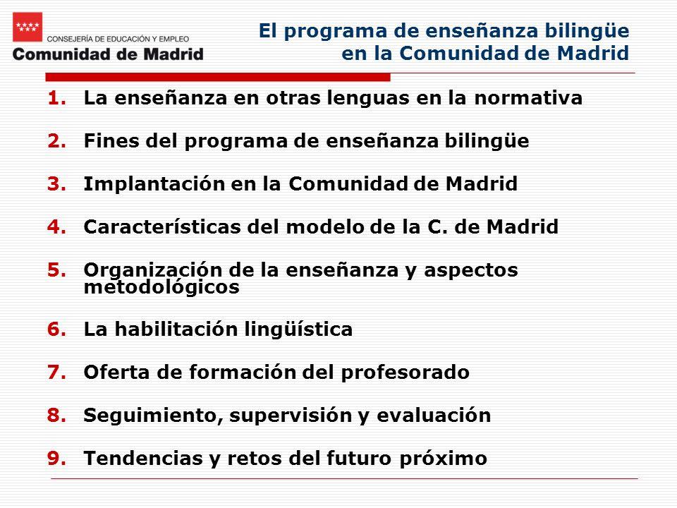 El programa de enseñanza bilingüe en la Comunidad de Madrid 1.La enseñanza en otras lenguas en la normativa 2.Fines del programa de enseñanza bilingüe