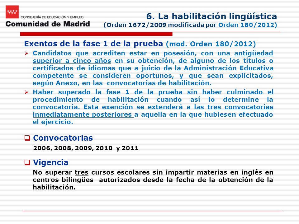 6. La habilitación lingüística (Orden 1672/2009 modificada por Orden 180/2012) Exentos de la fase 1 de la prueba (mod. Orden 180/2012) Candidatos que