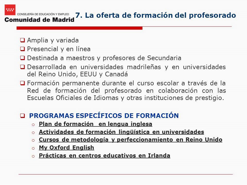 7. La oferta de formación del profesorado Amplia y variada Presencial y en línea Destinada a maestros y profesores de Secundaria Desarrollada en unive