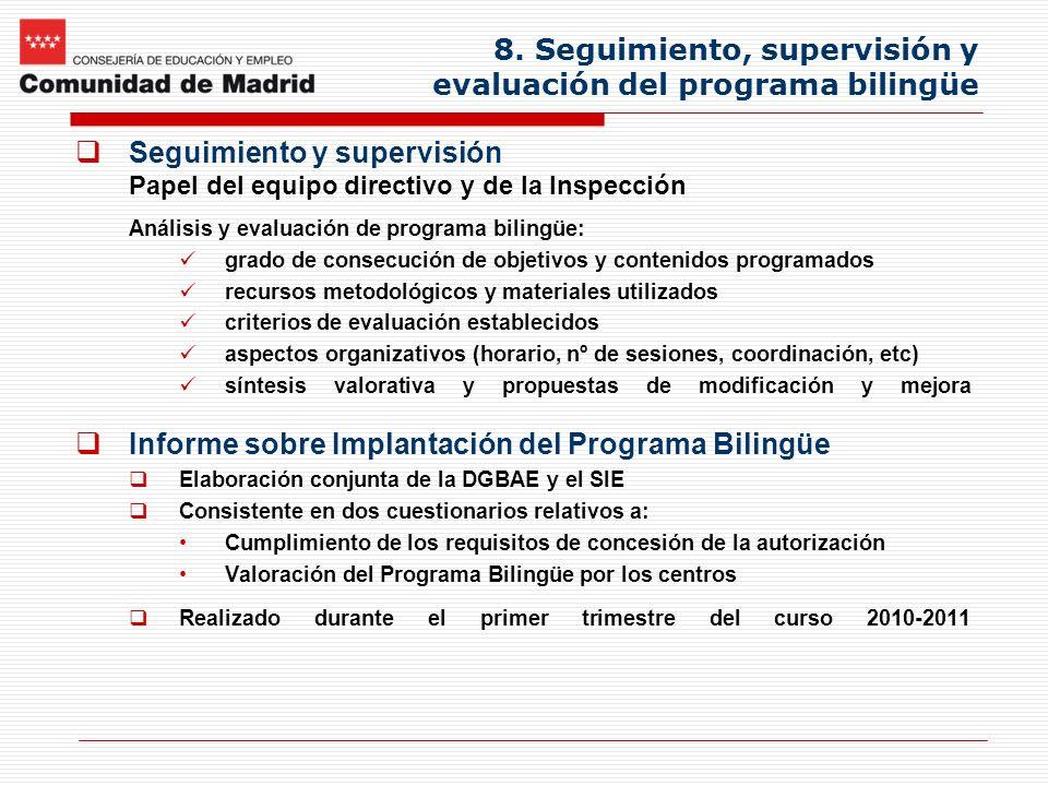 8. Seguimiento, supervisión y evaluación del programa bilingüe Seguimiento y supervisión Papel del equipo directivo y de la Inspección Análisis y eval