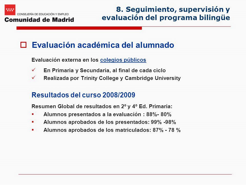 8. Seguimiento, supervisión y evaluación del programa bilingüe Evaluación académica del alumnado Evaluación externa en los colegios públicos En Primar