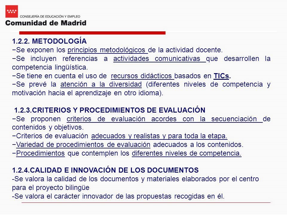 1.2.2. METODOLOGÍA Se exponen los principios metodológicos de la actividad docente. Se incluyen referencias a actividades comunicativas que desarrolle