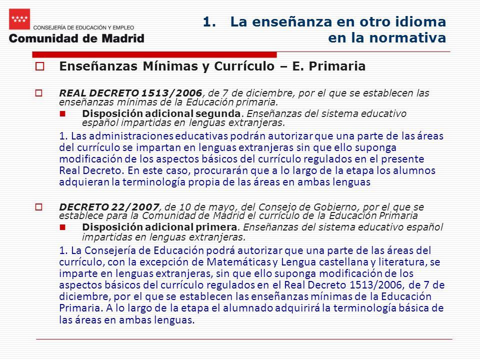 1.La enseñanza en otro idioma en la normativa Enseñanzas Mínimas y Currículo – E. Primaria REAL DECRETO 1513/2006, de 7 de diciembre, por el que se es