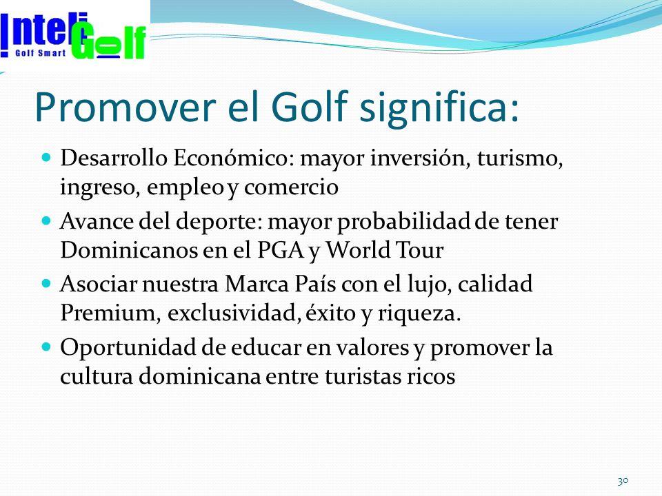 Promover el Golf significa: Desarrollo Económico: mayor inversión, turismo, ingreso, empleo y comercio Avance del deporte: mayor probabilidad de tener