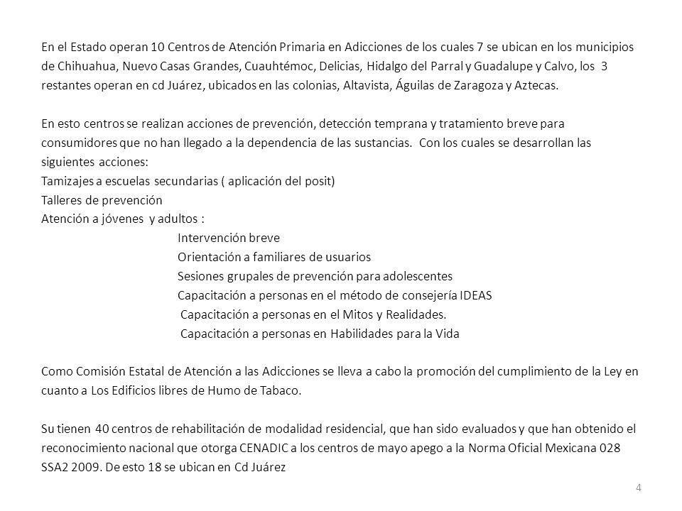 En el Estado operan 10 Centros de Atención Primaria en Adicciones de los cuales 7 se ubican en los municipios de Chihuahua, Nuevo Casas Grandes, Cuauh